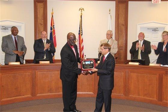 Larry Hawkins and Mayor Jim Blevins